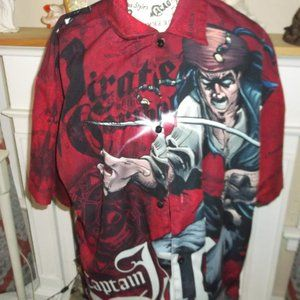 disney captain jack sparrow mans shirt. size lg
